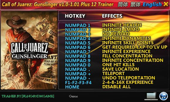 Call of Juarez: Gunslinger 1.0-Update 1 +12 Trainer [FliNG]